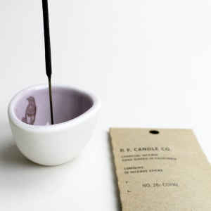 "Image of pebble incense holder, lilac with bluethroat, plus yummy p.f. candle ""copal"" incense"