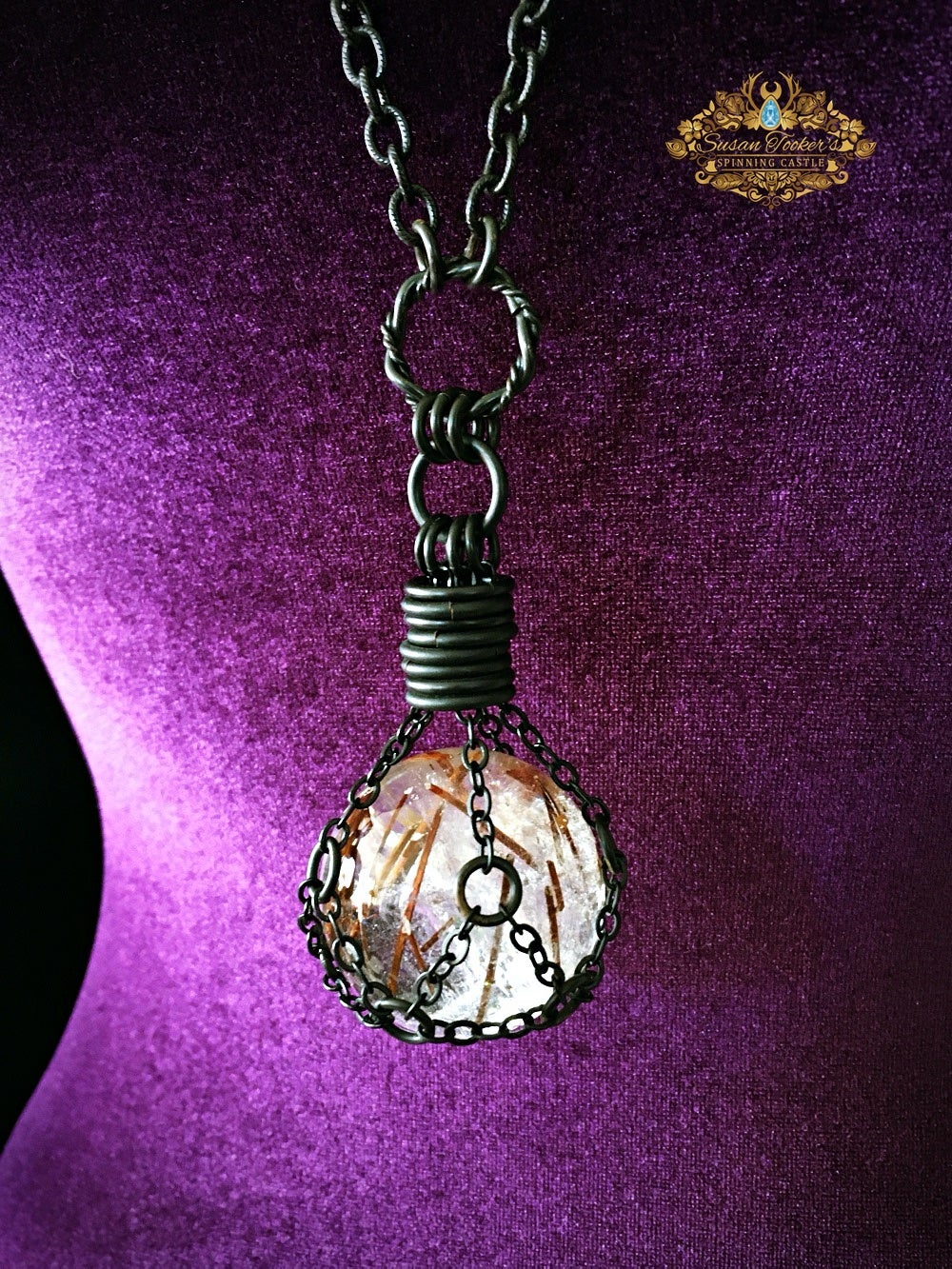 Image of THE TRAVELER - Red Rutilated Quartz Crystal Ball Necklace Witch Talisman Gothic Gemstone Sphere