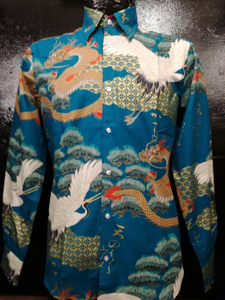 Image of Dragons and cranes button up men shirt