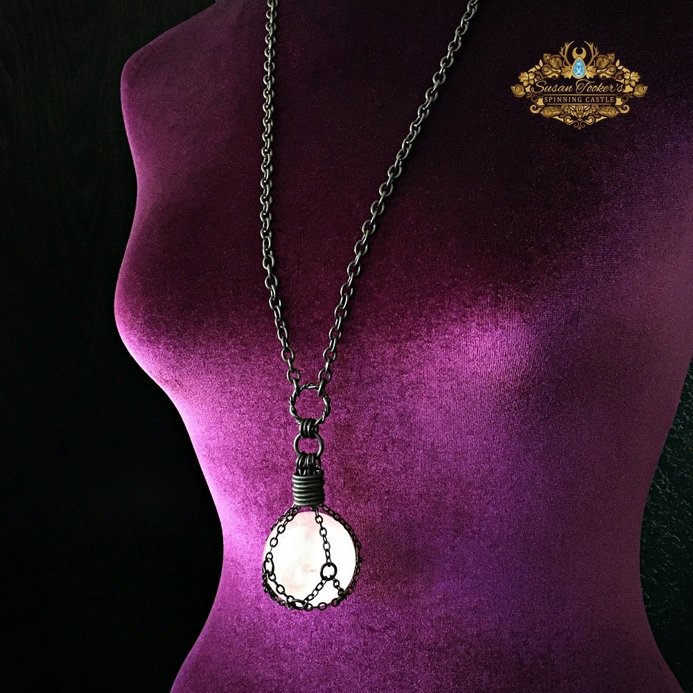 Image of THE HEALER - Rose Quartz Crystal Ball Necklace Witch Talisman Gothic Gemstone Sphere