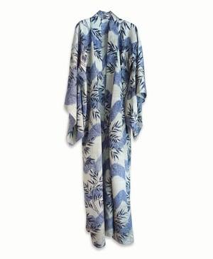 Image of Silke kimono - grå med sort bambus og blåregn