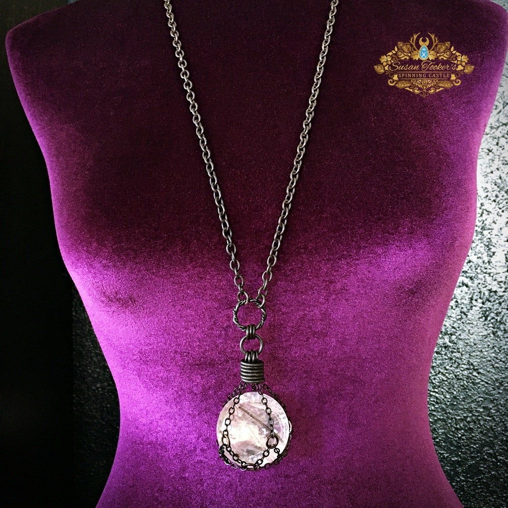Image of THE GAZING BALL - Black Tourmaline Rutile Quartz Crystal Ball Necklace Witch Talisman Sphere