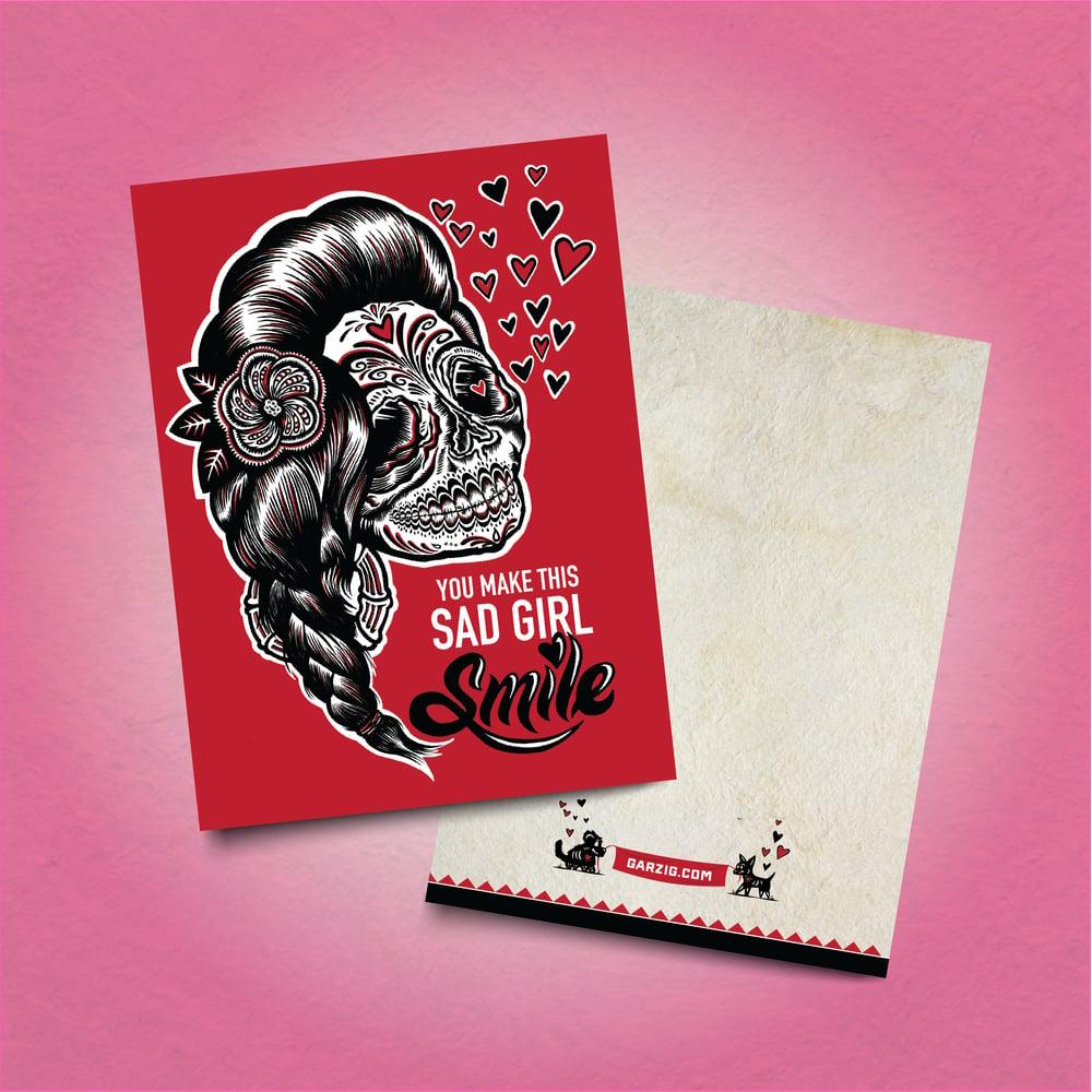 Sad Girl Smile Card