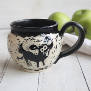 Image of Black and White Sgraffito Mug with Whimsical Dogs, Hand Carved Coffee Cup, 14 oz., Made in USA