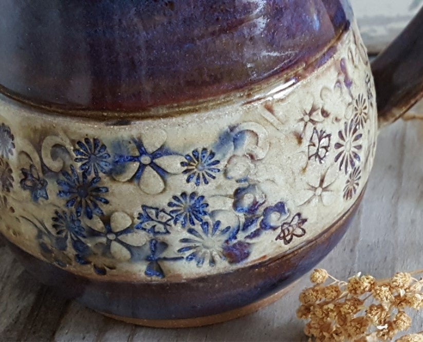 Image of Wildflowers Under Aubergine Skies - Big Hug Mug: Aubergine & Mountain Flower Honey