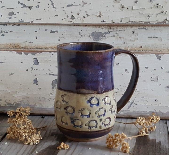 Image of Tiny Sheep Stampede Under Aubergine Skies - Big Hug Mug: Aubergine & Mountain Flower Honey
