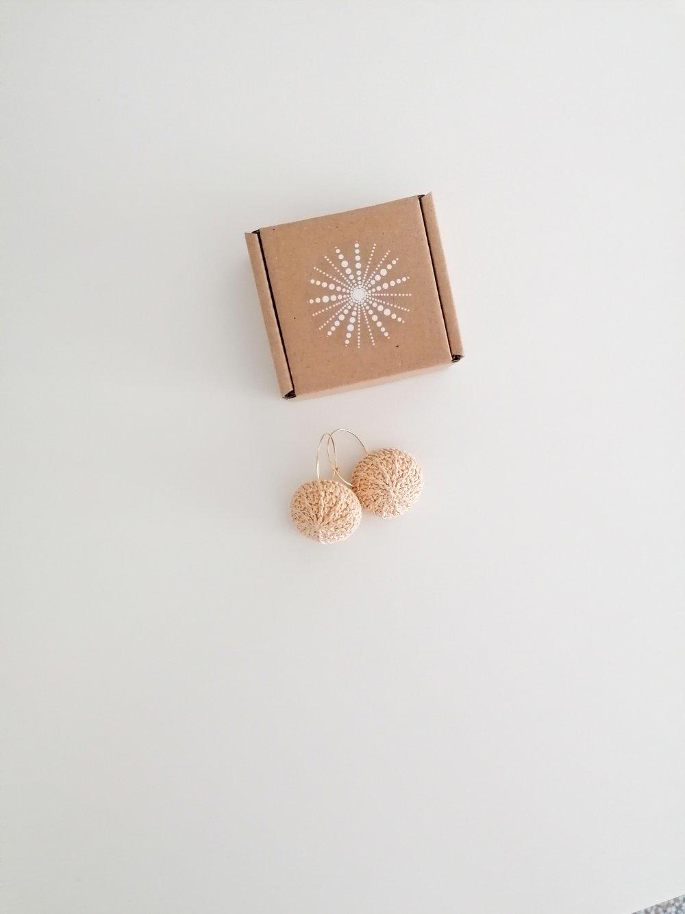 Image of Beige Sea Urchin earrings, golden hoops