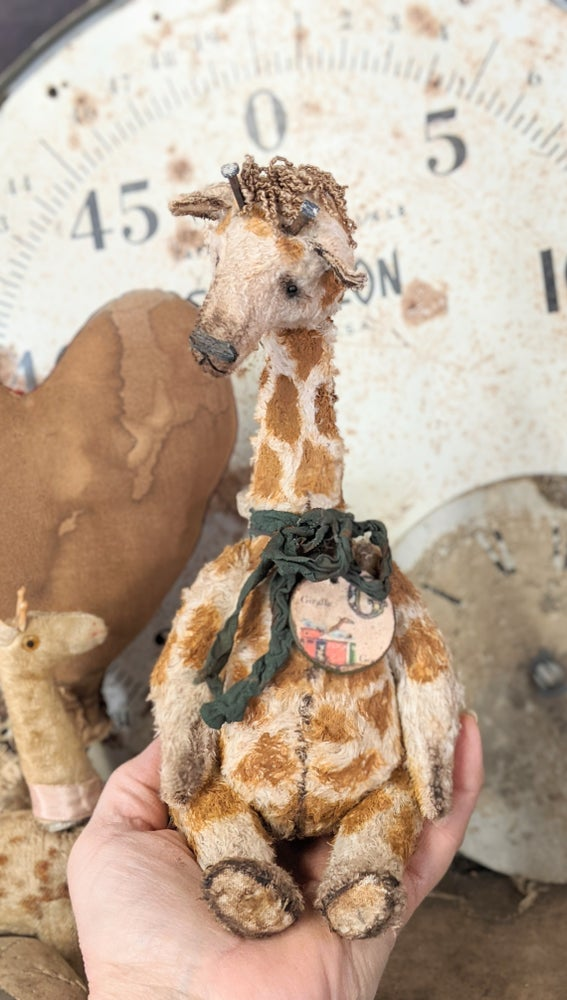 """Image of NEW DESIGN- G is for Giraffe - 10"""" Vintage Style Toy Giraffe by Whendi's Bears  -"""