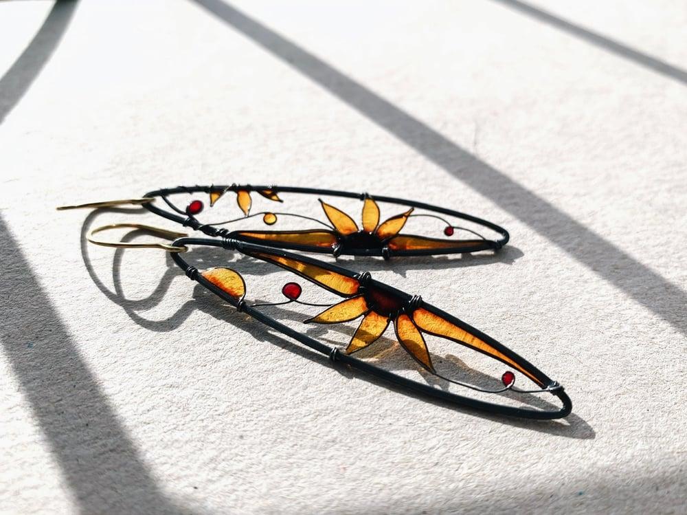 Image of Long Sunflower Earrings