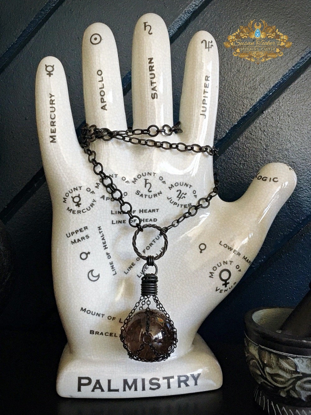 Image of THE PROTECTOR - Smoky Quartz with Red Tourmalated Rutile Crystal Ball Necklace Witch Talisman Sphere