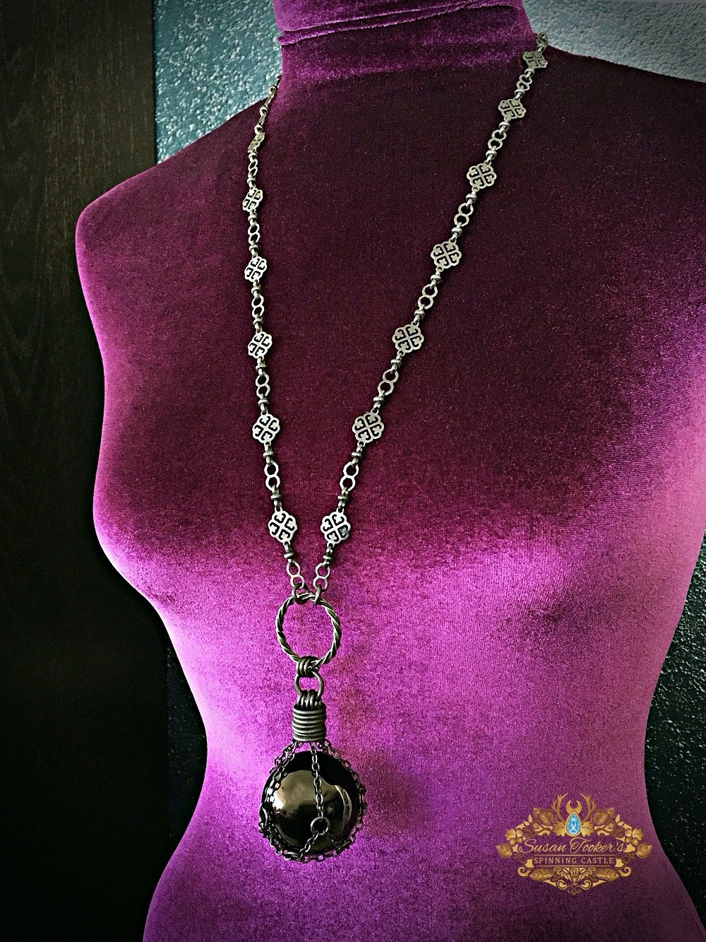 Image of THE DARK MOON - Black Obsidian Crystal Ball Necklace Witch Talisman Gothic Gemstone Sphere