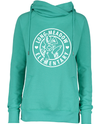 ENZA Ladies Classic Fleece Funnel Neck Pullover Hoodie- Seaglass Hare Graphic
