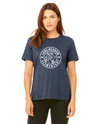 BELLA+CANVAS Women's Relaxed Fit Short Sleeve Tee- Heather Navy Hare