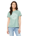 BELLA+CANVAS Women's Relaxed Fit Short Sleeve Tee- Dusty Green Hare