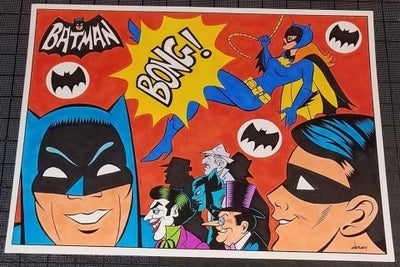 Image of  BATMAN & BATGIRL '67 TV SERIES OPENING TRIBUTE ORIGINAL ART - 11x14!