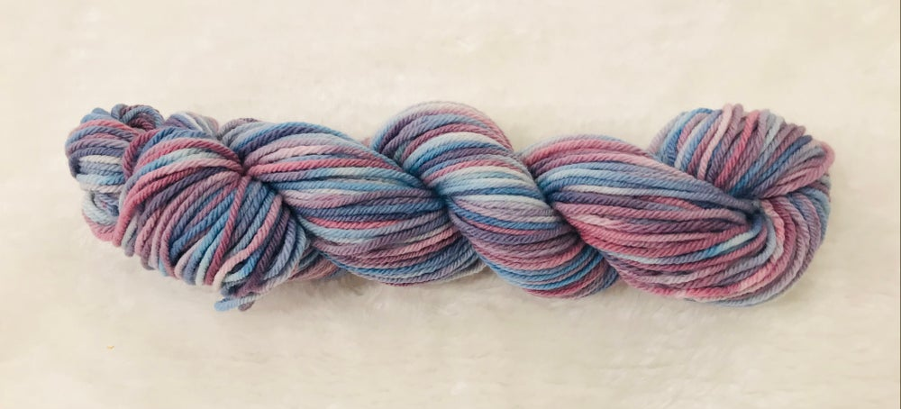 Hand Dyed 8ply Wool Purple Haze and Rusty