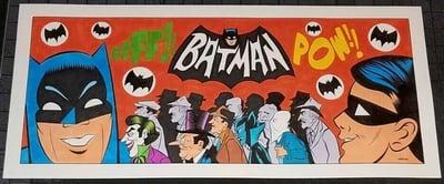 """Image of BATMAN 1966 TV SERIES OPENING TRIBUTE ORIGINAL ART - 20 3/4"""" X 9 1/2""""!"""