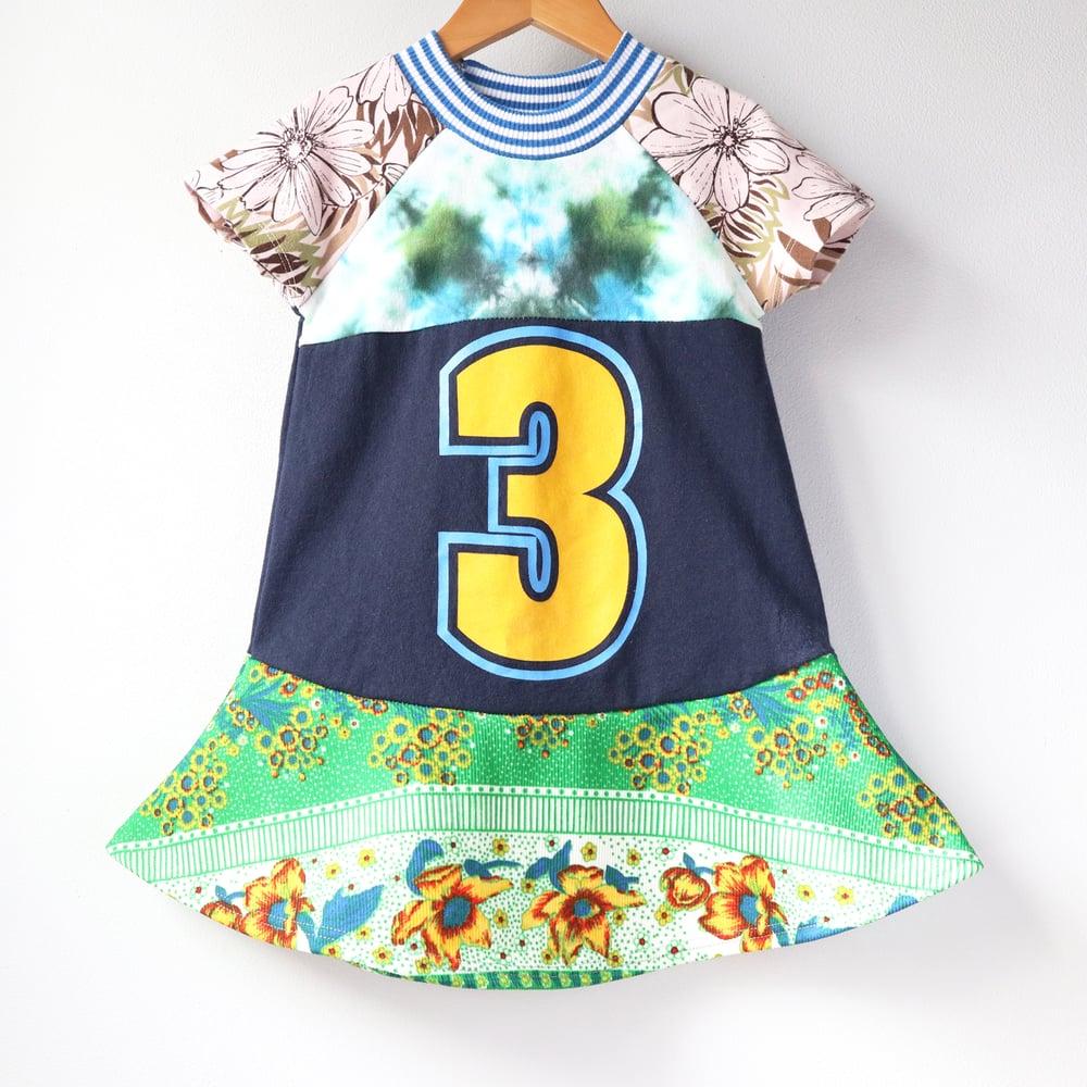 Image of green tiedye blue three 3T 3 3rd third twirly birthday bday party short sleeve mix prints dress