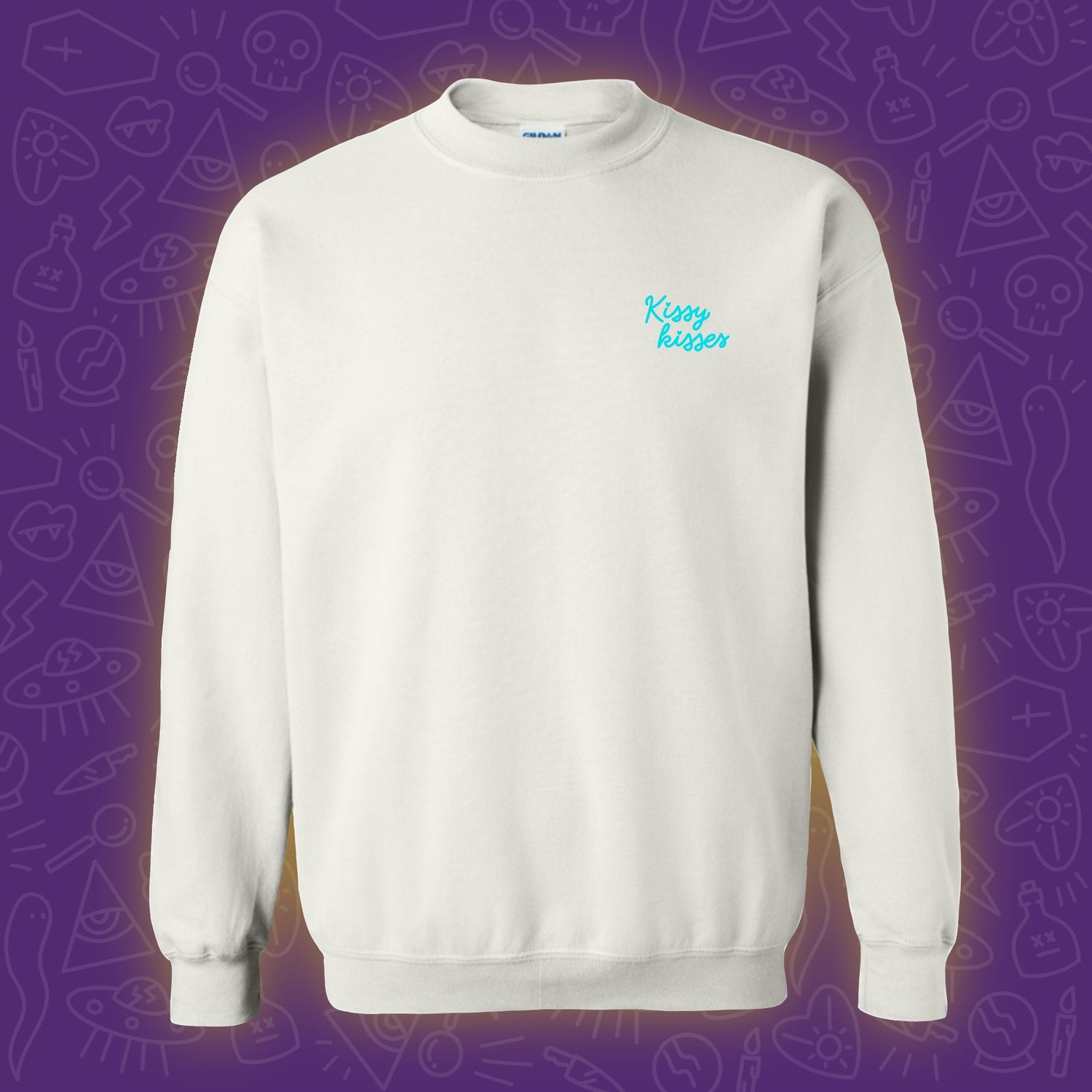 Image of Kissy Kisses Embroidered Crewneck - Turquoise **PRE ORDER**