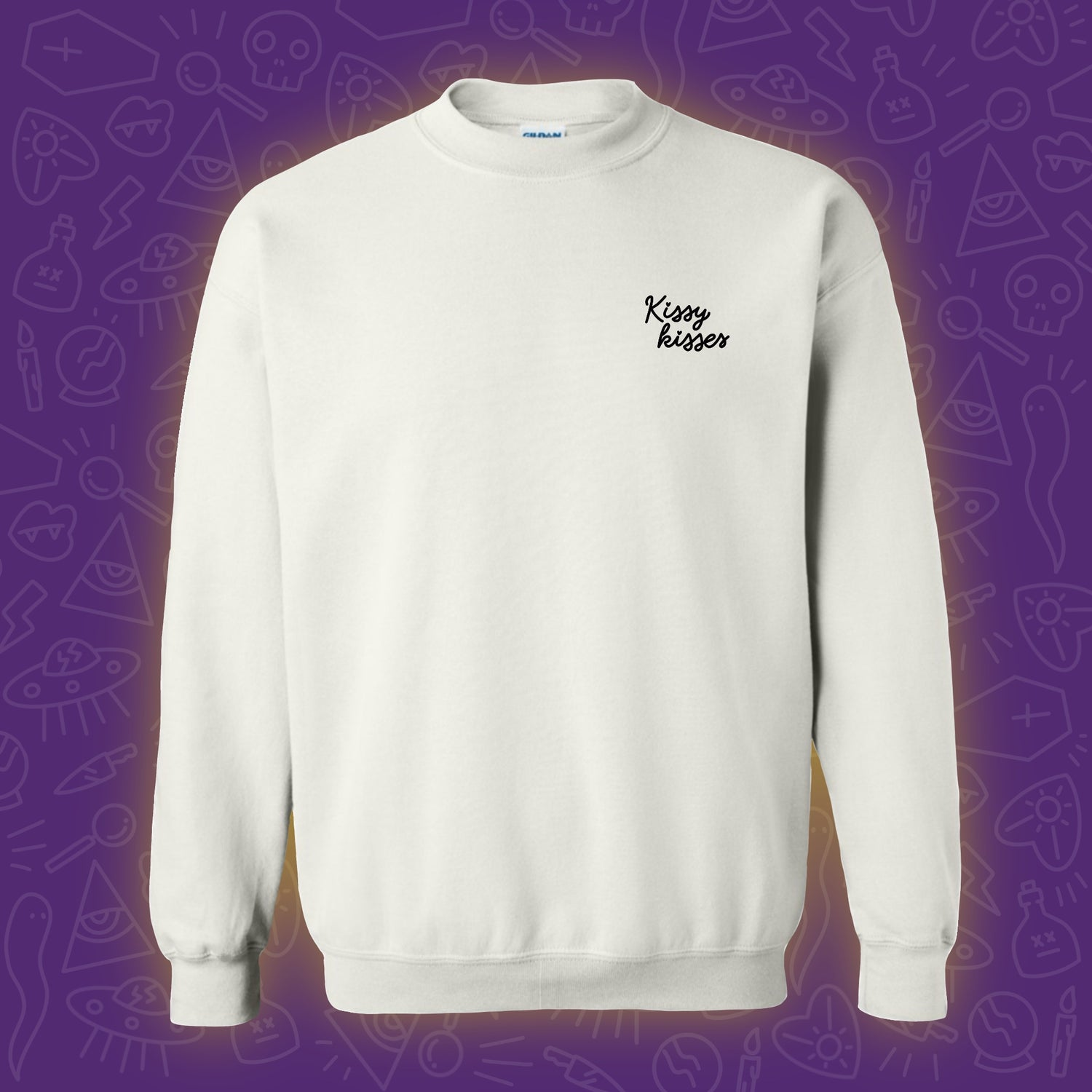 Image of Kissy Kisses Embroidered Crewneck - Black **PRE ORDER**