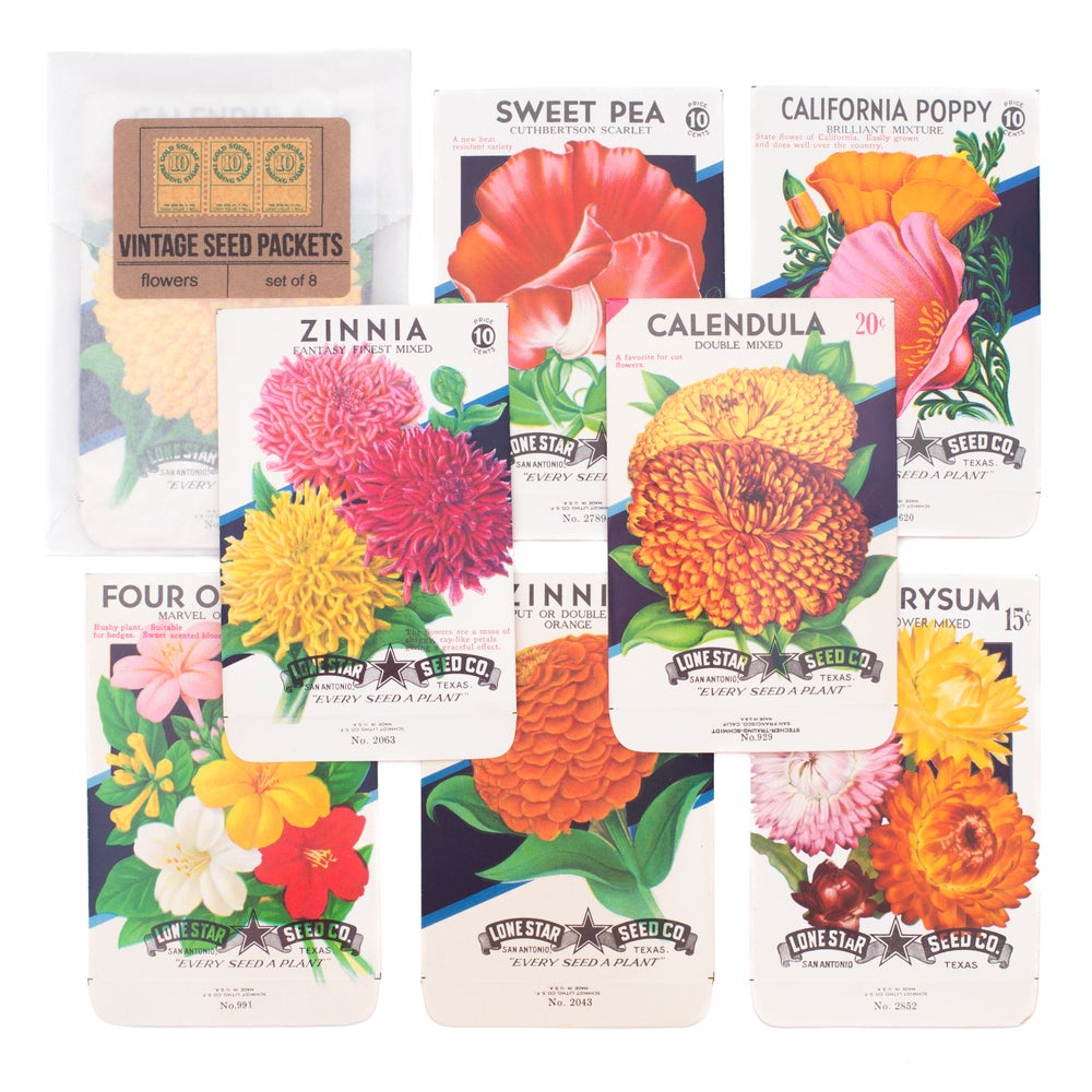 Image of Vintage Flower Seed Packets, No. 6 - Set of 8