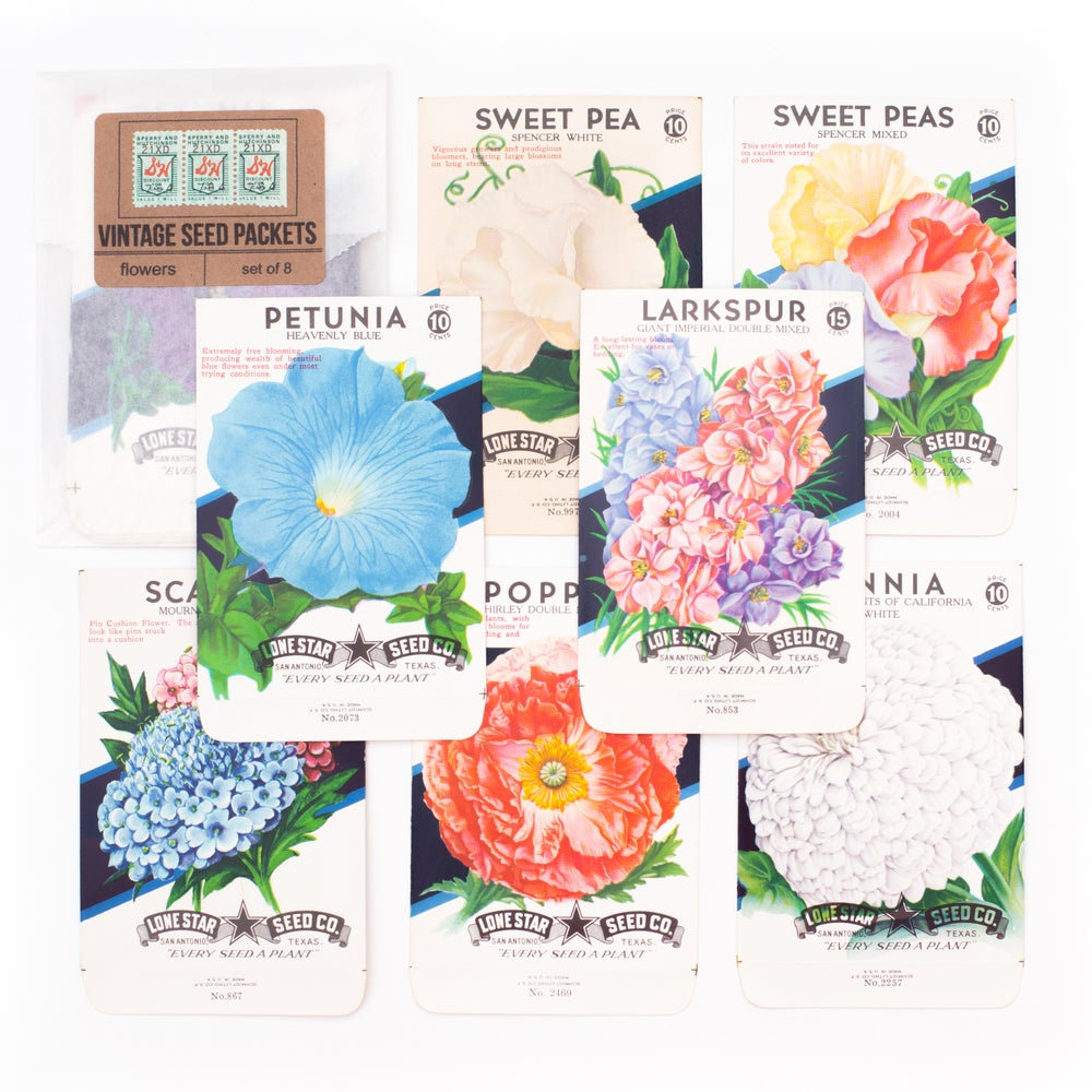Image of Vintage Flower Seed Packets, No. 7 - Set of 8