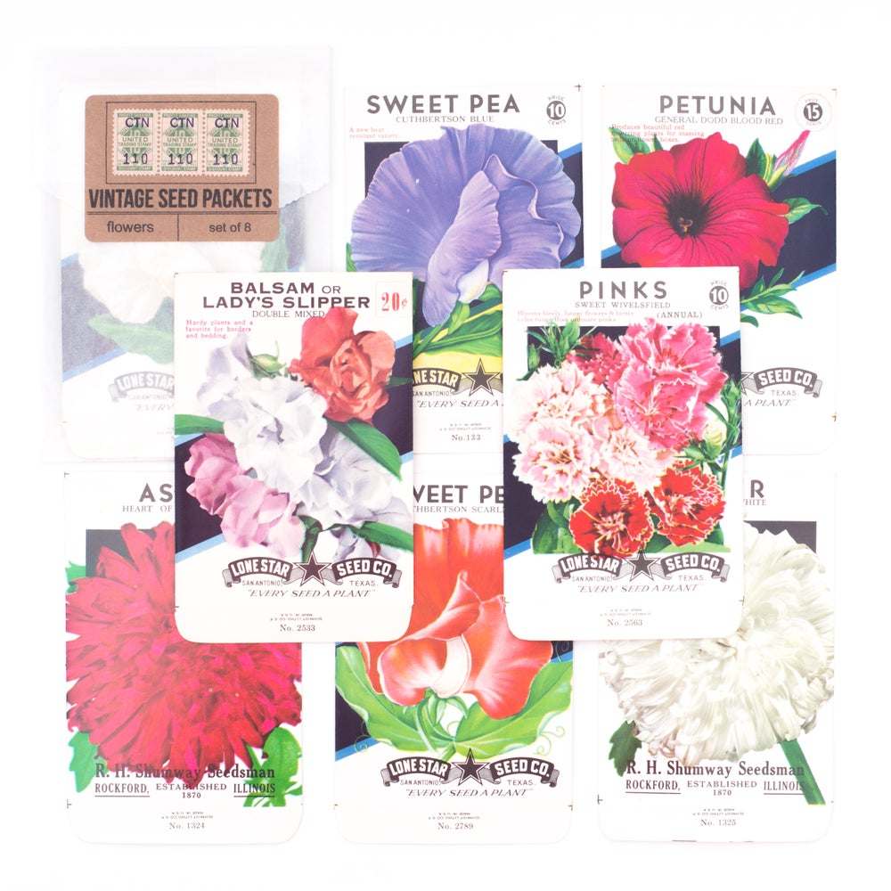 Image of Vintage Flower Seed Packets, No. 9 - Set of 8