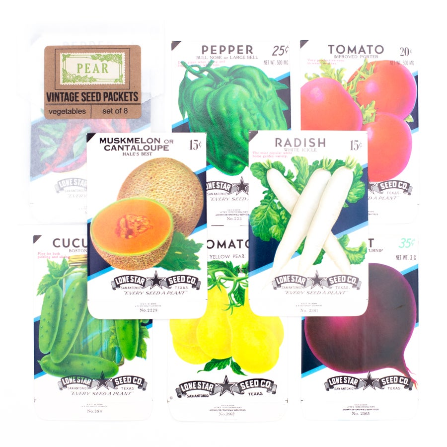 Image of Vintage Vegetable Seed Packets, No. 3 - Set of 8