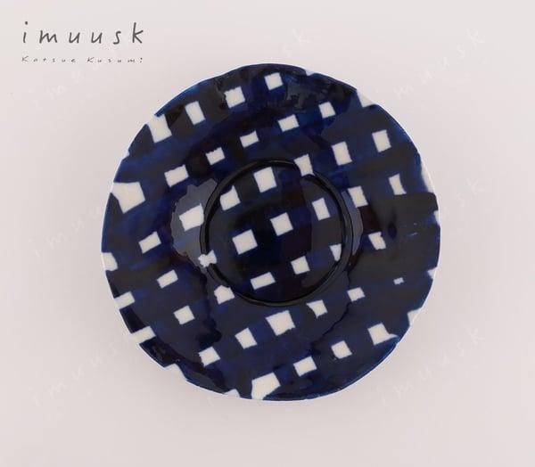 Image of Porcelain Plate Dark Blue Grid (M)
