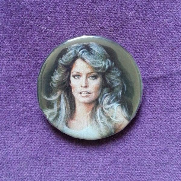 Image of badge farrah fawcett