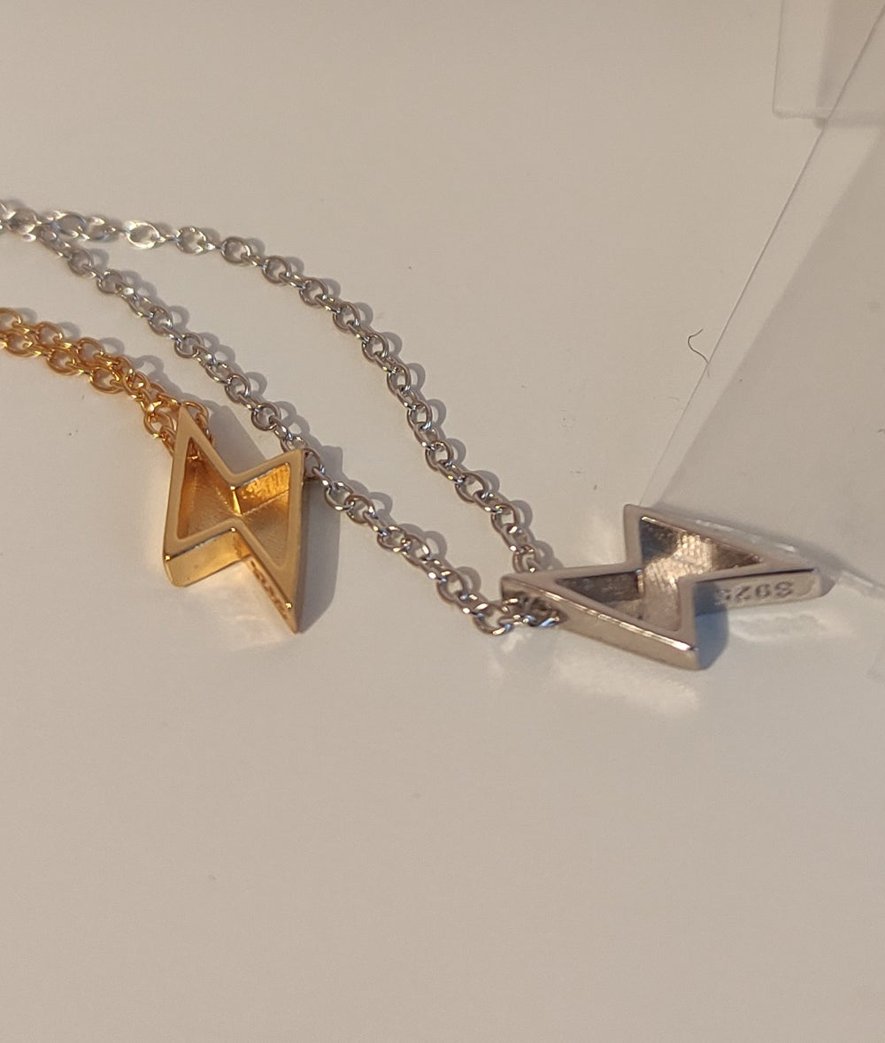 Lightning Pendant Necklace in Gold or Silver (925 Silver)