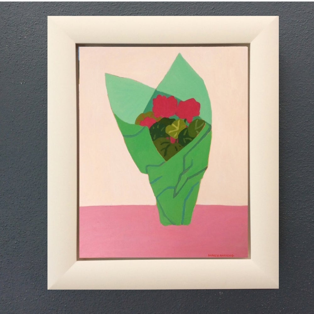 Image of Geraniums in Green Paper