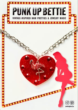 Image of Flamingo Sparkle Sweethearts Earrings - Red Glitter