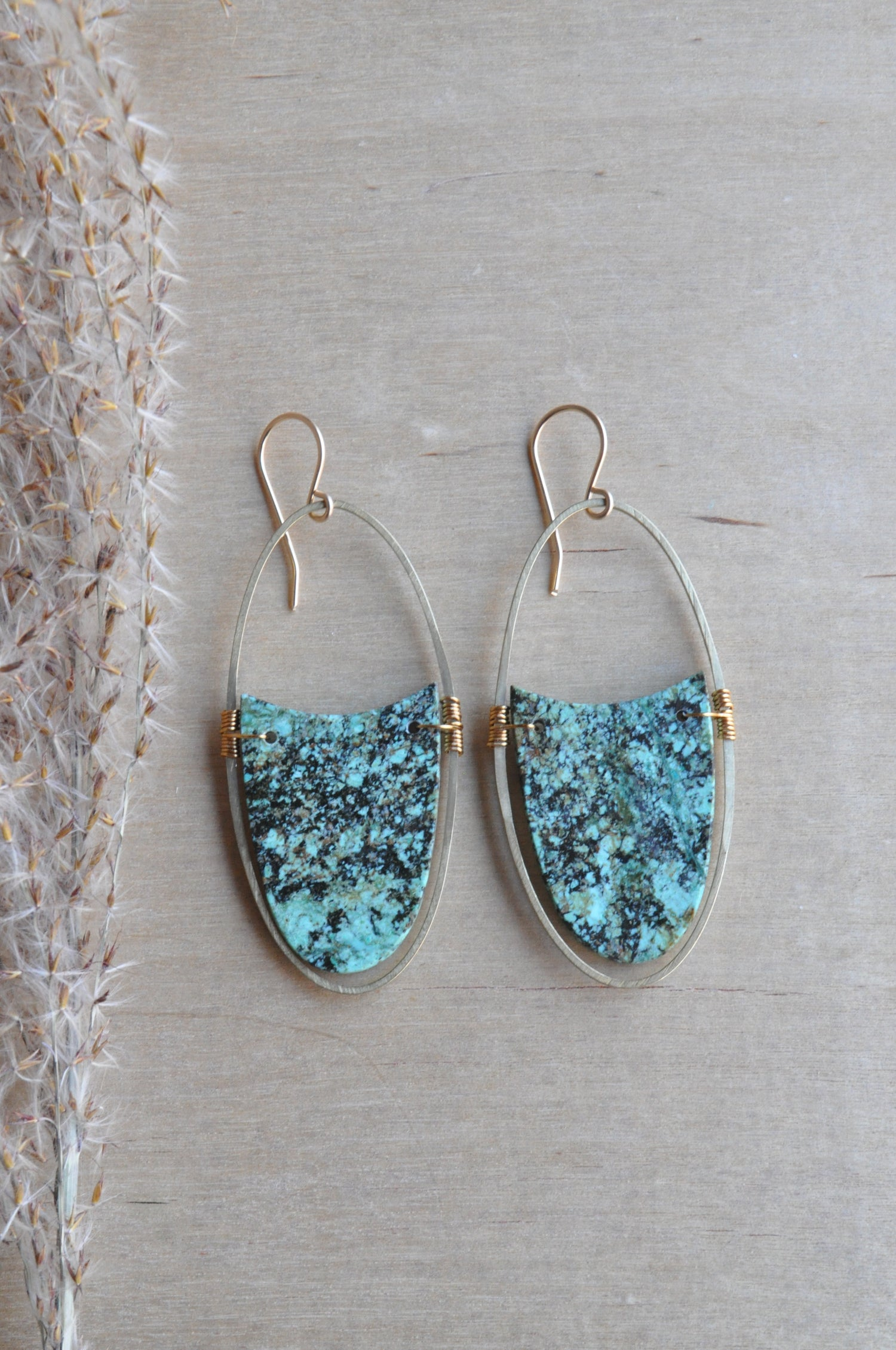 Image of OOAK African Turquoise Oval Dangles