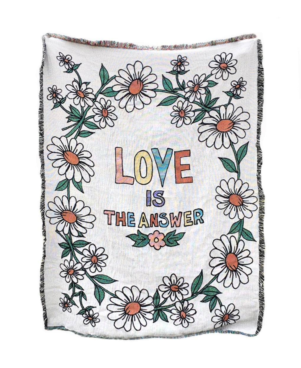 Daisy Chain Love is the Answer Woven Blanket