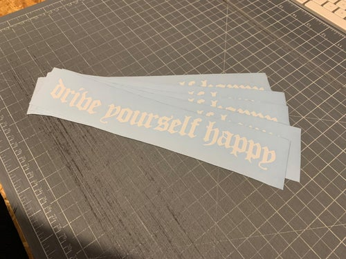 Image of Sadboi Gothic Happy Sticker. TWO Sizes Available