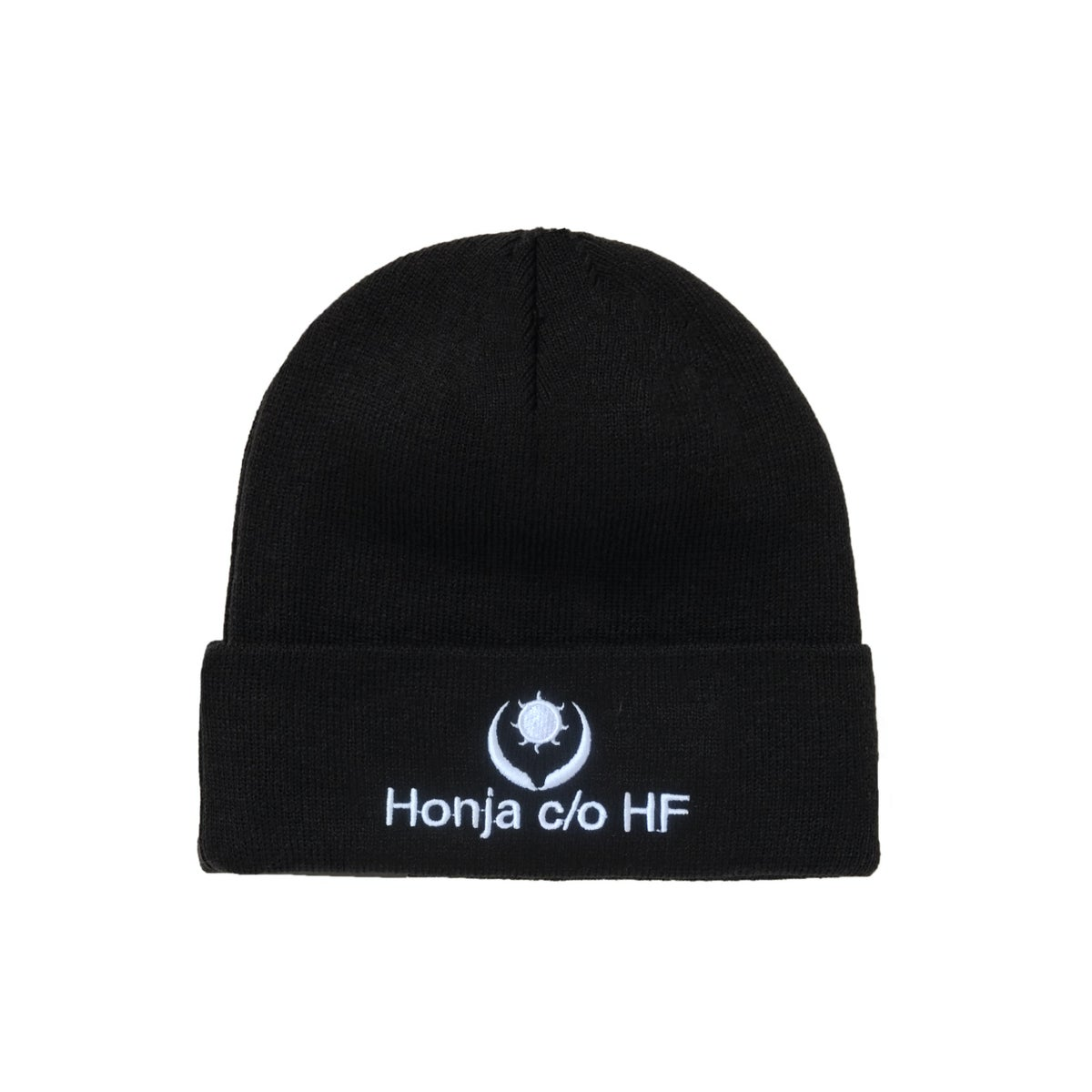 """Image of DOUBLE-SIDE """"L'HUMAIN BLEU"""" EMBROIDERED BEANIE - Black (Unisex)"""
