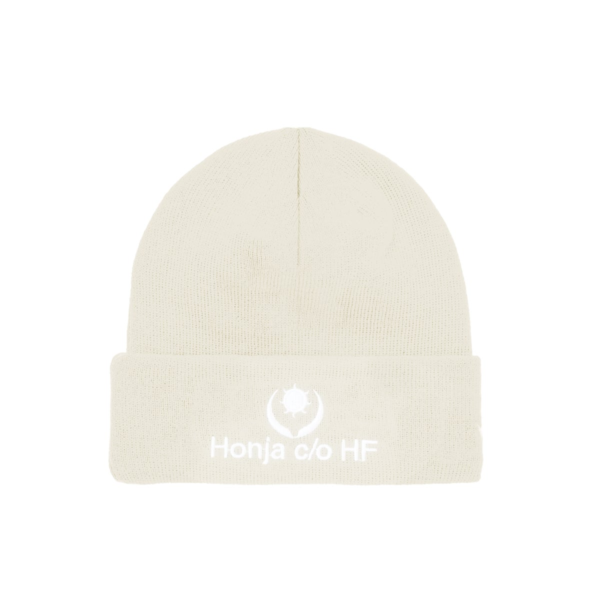 """Image of DOUBLE-SIDE """"L'HUMAIN BLEU"""" EMBROIDERED BEANIE - Off White (Unisex)"""