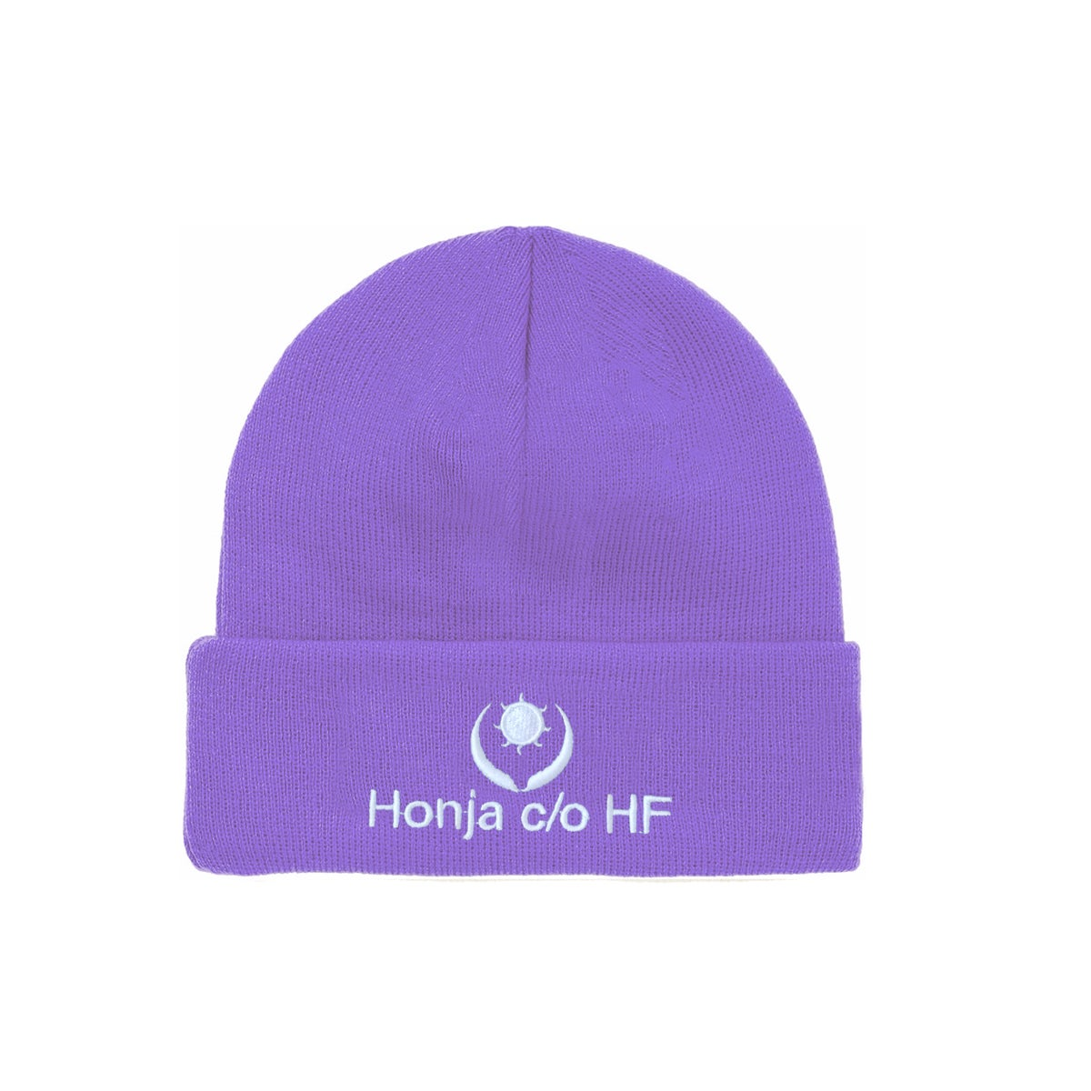 """Image of DOUBLE-SIDE """"L'HUMAIN BLEU"""" EMBROIDERED BEANIE - Purple (Unisex)"""