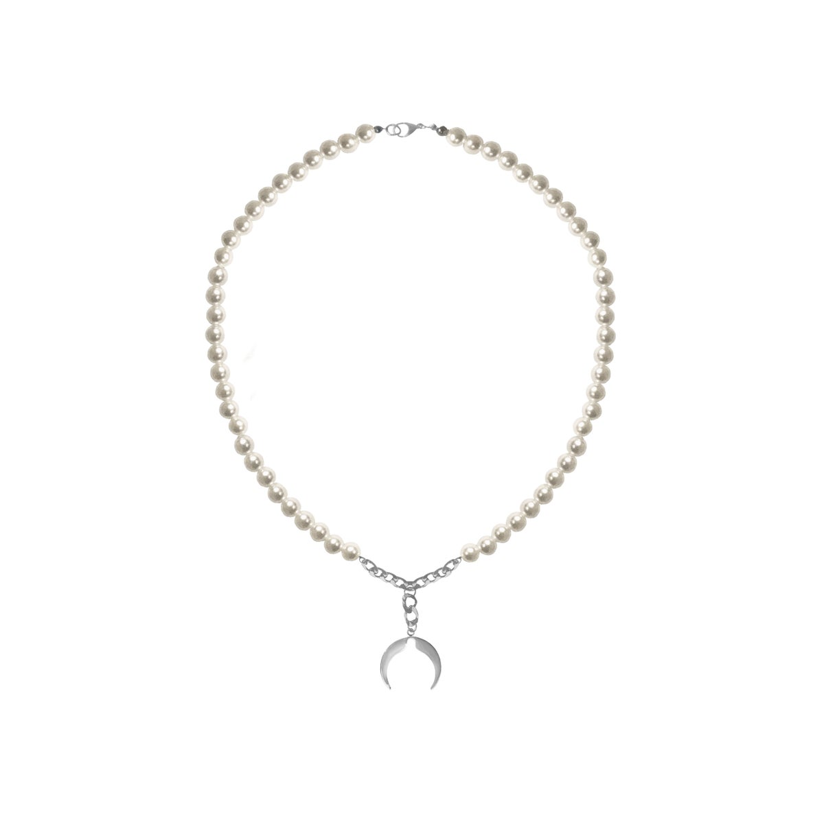 Image of SALES: PEARL MOON LOGO NECKLACE (unisex)