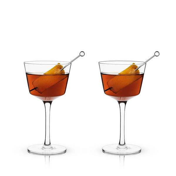 Image of ANGLED CRYSTAL NICK & NORA GLASSES
