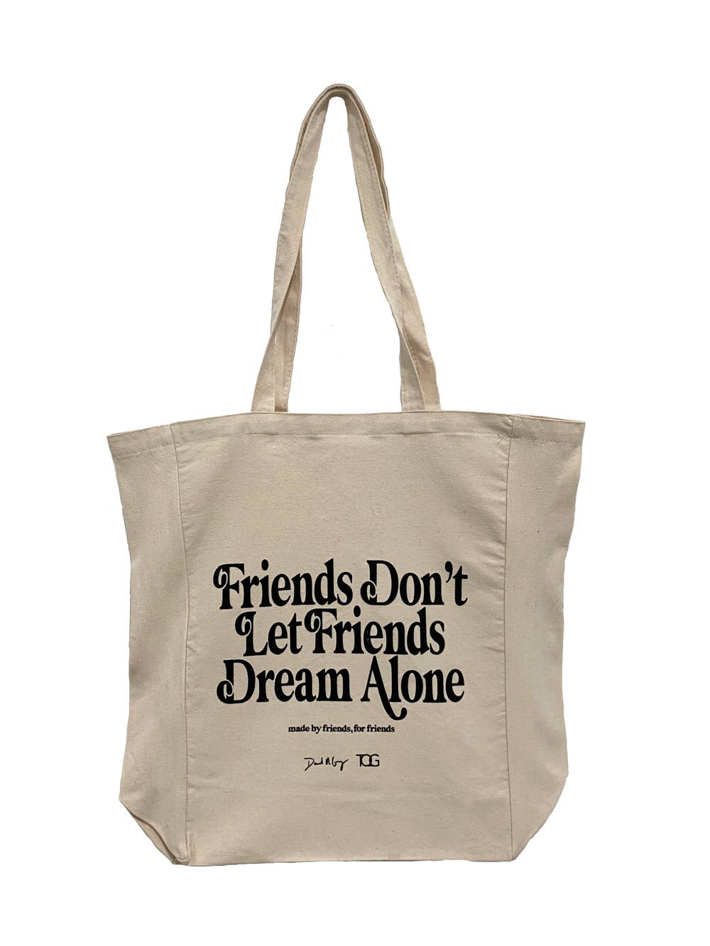 """Image of Tan """"Made By Friends For Friends"""" Collaboration Canvas Dream Tote"""
