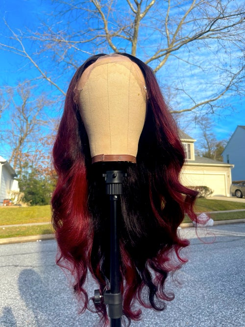 """Image of """"BROOKLYN"""" RED BALAYAGE Lace Edge Double U-Part WIG"""