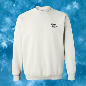 Image of TIE-DYE Kissy Kisses Embroidered Crewneck - Cyan