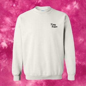 Image of TIE-DYE Kissy Kisses Embroidered Crewneck - Magenta