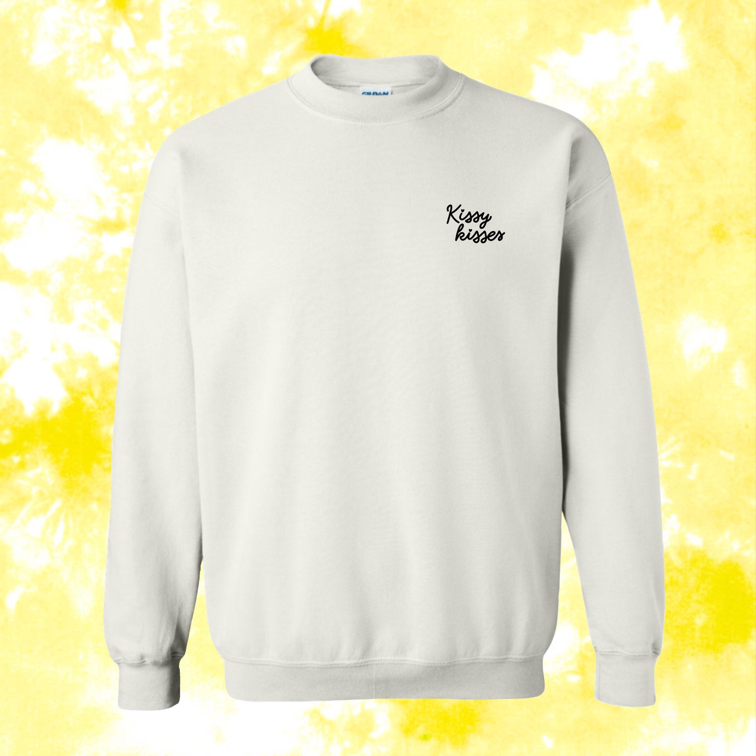 Image of TIE-DYE Kissy Kisses Embroidered Crewneck - Yellow