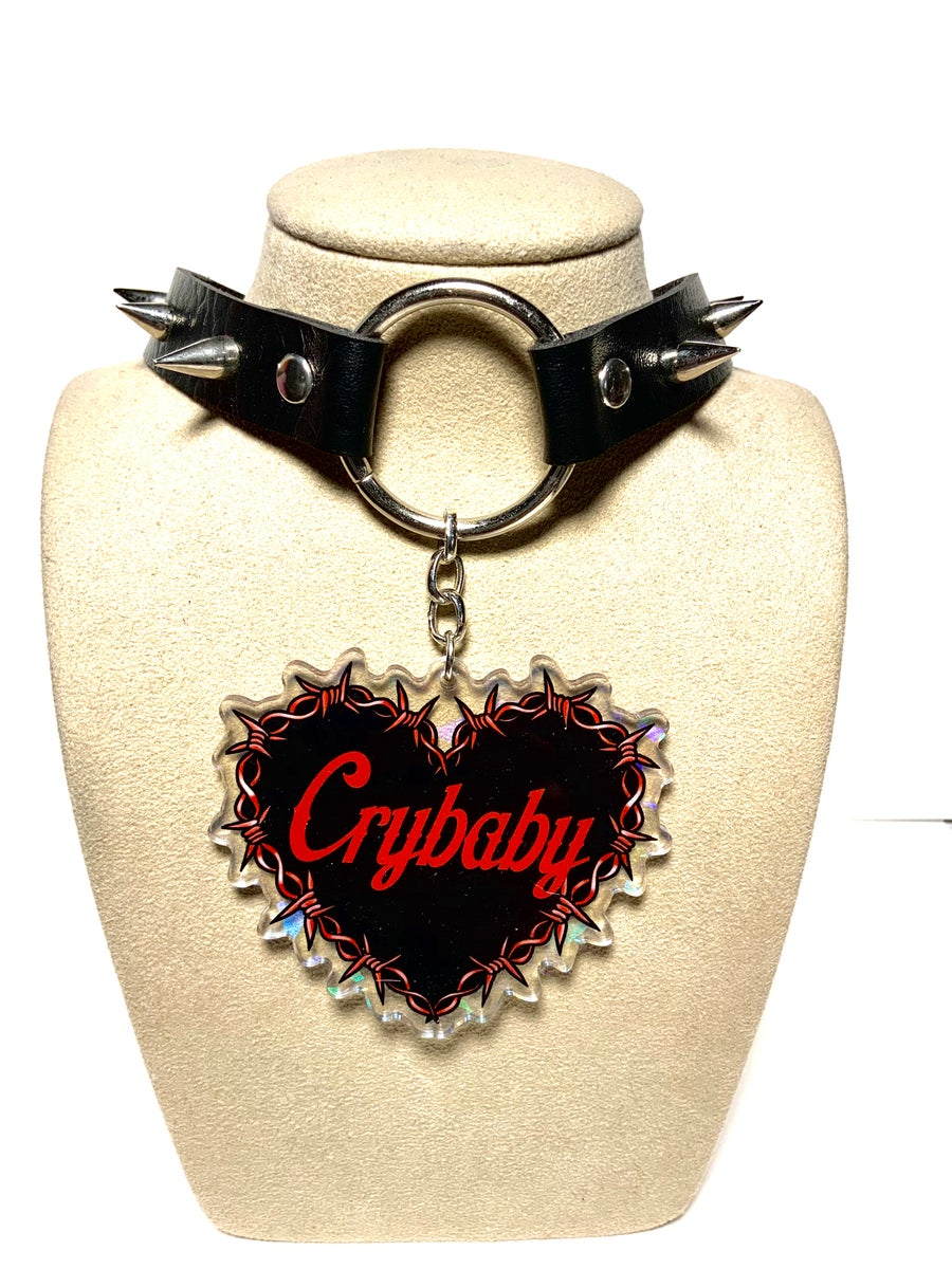Image of Crybaby Barbed Wire Heart O-Ring Choker