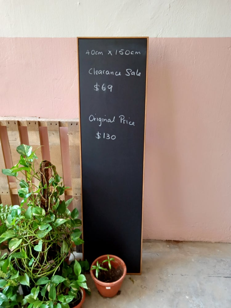 Long and Narrow Chalkboard with Brown Wooden Frame