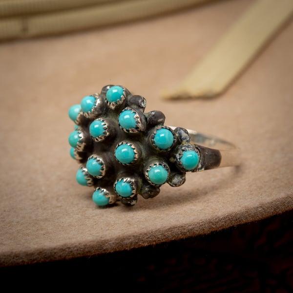 Image of Vintage Zuni Snake Eyes Turquoise Cluster Ring Zuni Silversmith  Size 7.5