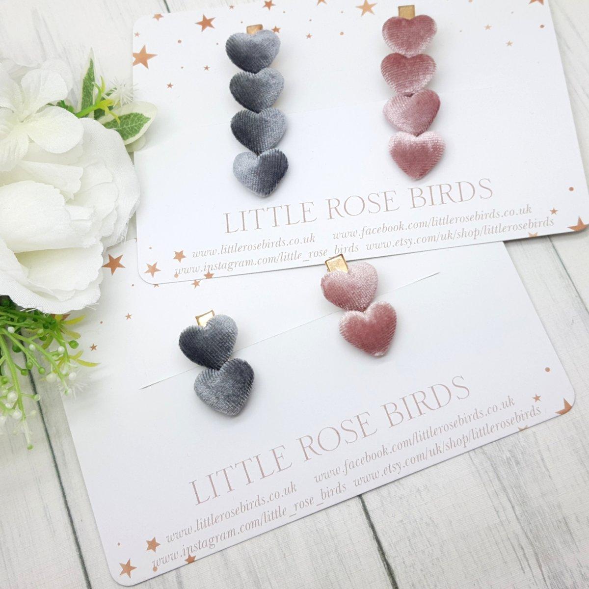 Image of Pink & Grey Velvet Heart Clips
